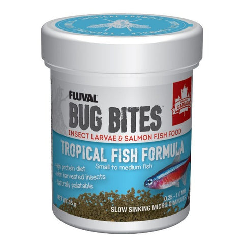 FLUVAL Bug Bites Tropical Fish Formula Micro Granules (small to medium fish) 45G
