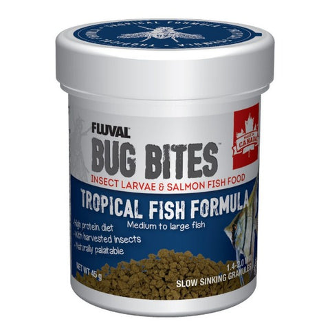 FLUVAL Bug Bites Tropical Fish Formula Slow Sinking Granules (medium to large fish) 45G