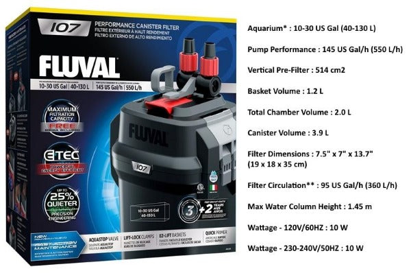 Fluval 07 Series External Canister Filter; Available in 4 sizes-Filtration & Circulation-Fluval-Fluval 107-Petland Canada