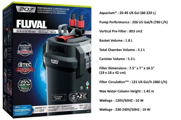 Fluval 07 Series External Canister Filter; Available in 4 sizes-Filtration & Circulation-Fluval-Fluval 207-Petland Canada