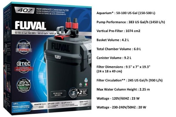 Fluval 07 Series External Canister Filter; Available in 4 sizes-Filtration & Circulation-Fluval-Fluval 407-Petland Canada