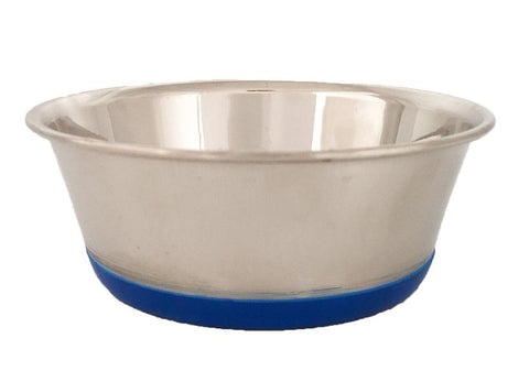 Heavy Stainless Steel Dish with Bonded Rubber Base
