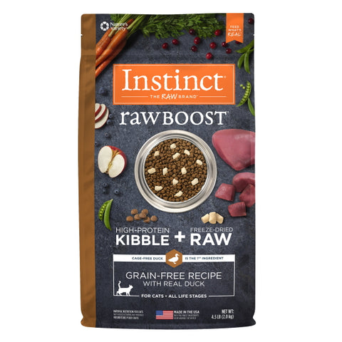 Nature's Variety Instinct Raw Boost Grain-Free Recipe with Real Duck Cat Food, 4.5 lbs