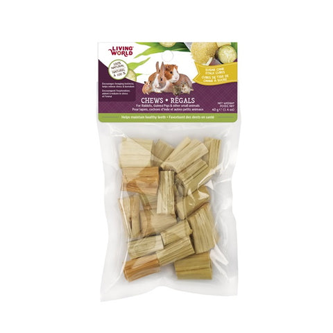Living World Small Animal Chews - Sugarcane Stalk Cubes 40g-Hay & Treats-Living World-Petland Canada