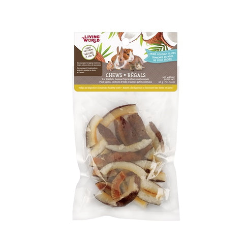 Living World Small Animal Chews - Dried Coconut Slices 45g-Hay & Treats-Living World-Petland Canada