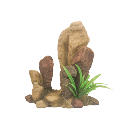 Rock with Plants Reptile Ornament