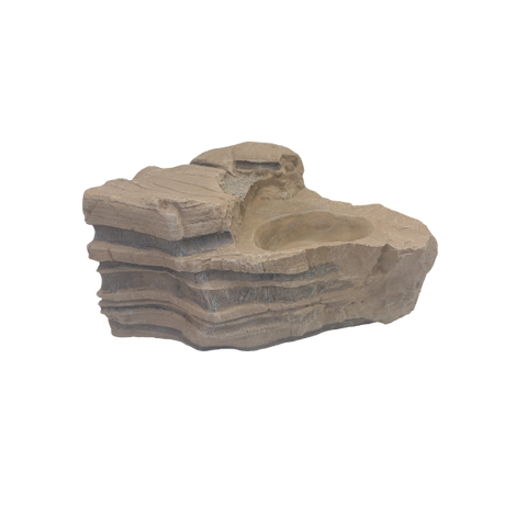 Reptile Rock Ornament with Dual Entrance Cave & Dish