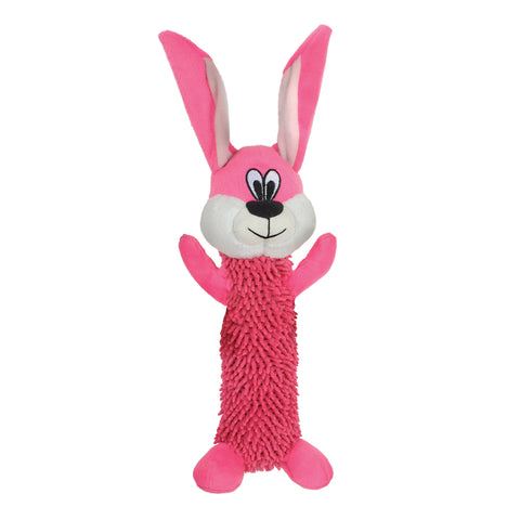 Tender-Tuffs Fetch: Shaggy Pink Rabbit