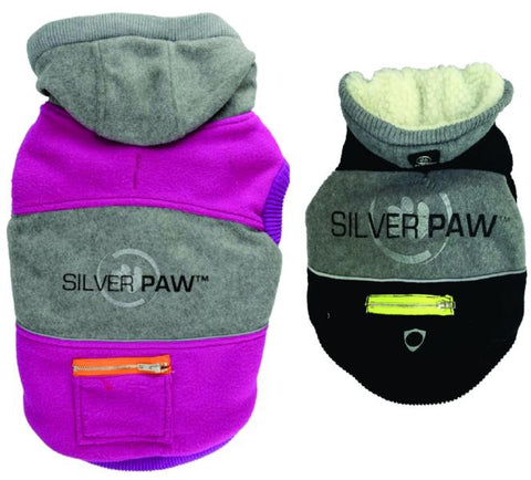 Silver Paw Hoodie with Chevron