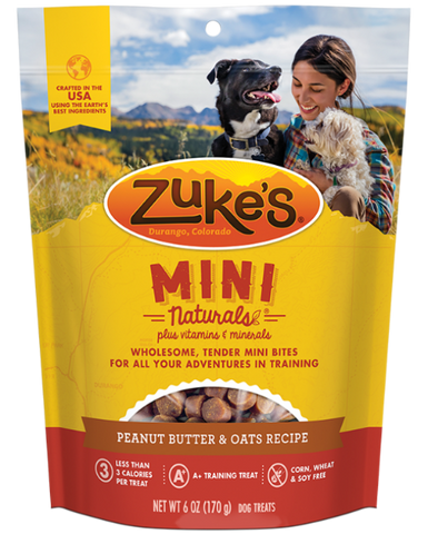 Zuke's Mini Naturals Peanut Butter & Oats Recipe Dog Treats; available in 2 Sizes