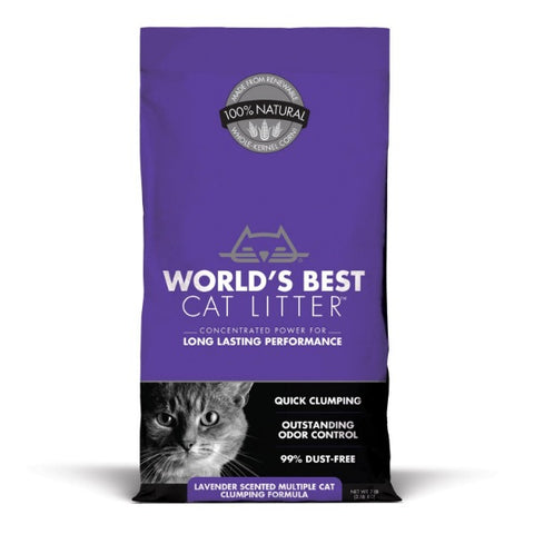 WORLD'S BEST Multi-Cat Lavender Scented Clumping Corn Cat Litter; Available in 2 sizes