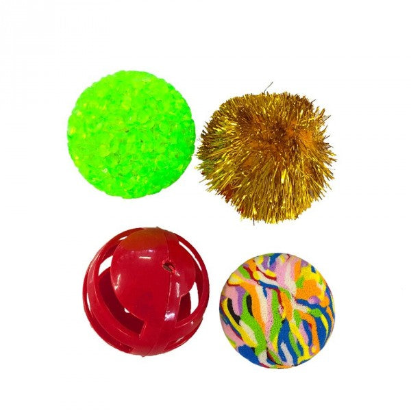 Pawise Cat Toy Assorted Balls 4 Pack