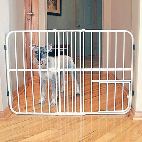 "Tuffy Expandable Gate with Small Pet Door (24"" H x 26-42"" W)-Gates & Doors-vendor-unknown-Petland Canada"
