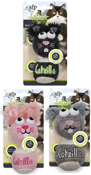 afp Catzilla Crackle Catnip Filled Plush Toys; Available in 3 styles