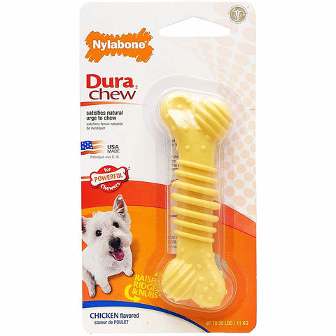 Nylabone Durachew Textured Chew Bone; available in different sizes-Toys-Nylabone-Chicken Flavor Regular-Petland Canada
