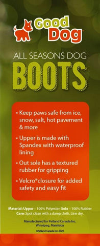 Good Dog All Season Dog Boots; Available in Several Sizes