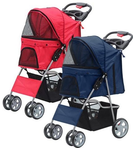 Pawise Pet Stroller; available in blue or red-Outdoor-Pawise-Petland Canada