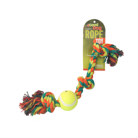 "Good Dog Rope Dog Toy; Multi Colour 3 Knot with Ball-Toys-Good Dog-13"" (Green & Orange)-Petland Canada"