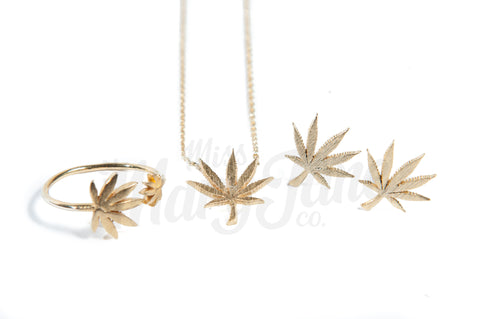 Cannabis Couture Jewelry Set- Gold! - Miss Mary Jane Co.