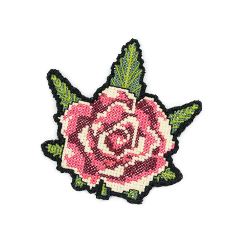 Rose & Weed Leaf Cross Stitch Patch! - Miss Mary Jane Co.
