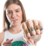Ornate Pot Leaf Ring- Gold! - Miss Mary Jane Co.