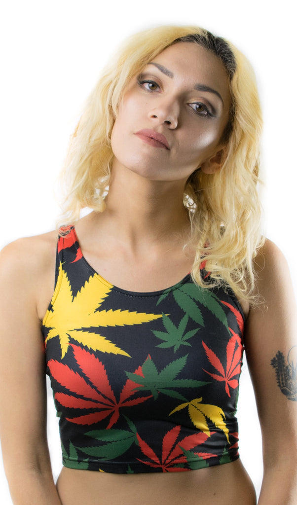 Rasta Weed Leaf Print Crop Top! - Miss Mary Jane Co.