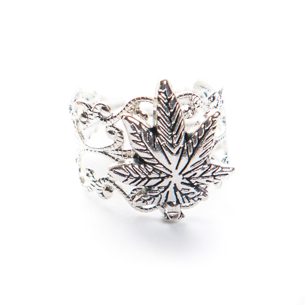 Ornate Pot Leaf Ring- Silver! - Miss Mary Jane Co.