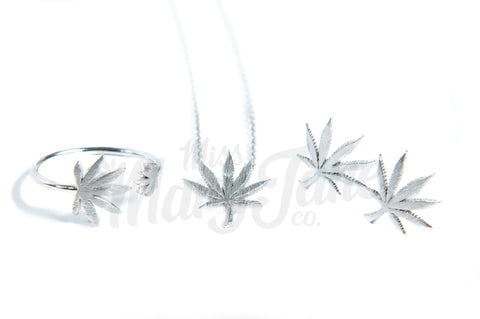 Cannabis Couture Jewelry Set- Silver! - Miss Mary Jane Co.