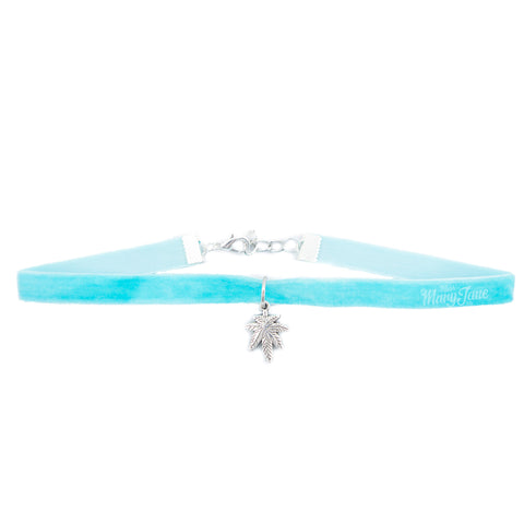 Cannabis Couture Velvet Choker- Baby Blue & Silver!