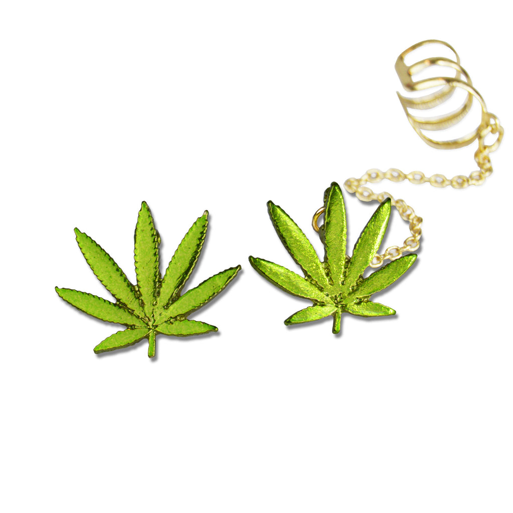 Marijuana Ear Cuff & Stud Set! - Miss Mary Jane Co.