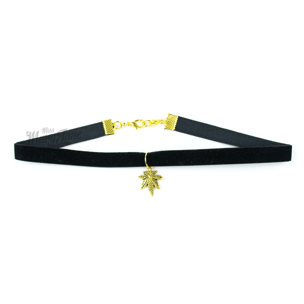 Cannabis Couture Velvet Choker- Black & Gold! - Miss Mary Jane Co.