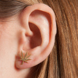 Cannabis Couture Pot Leaf Earrings- Gold! - Miss Mary Jane Co.