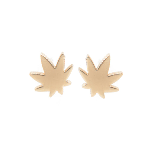 Indica Pot Leaf Earrings- Gold! - Miss Mary Jane Co.