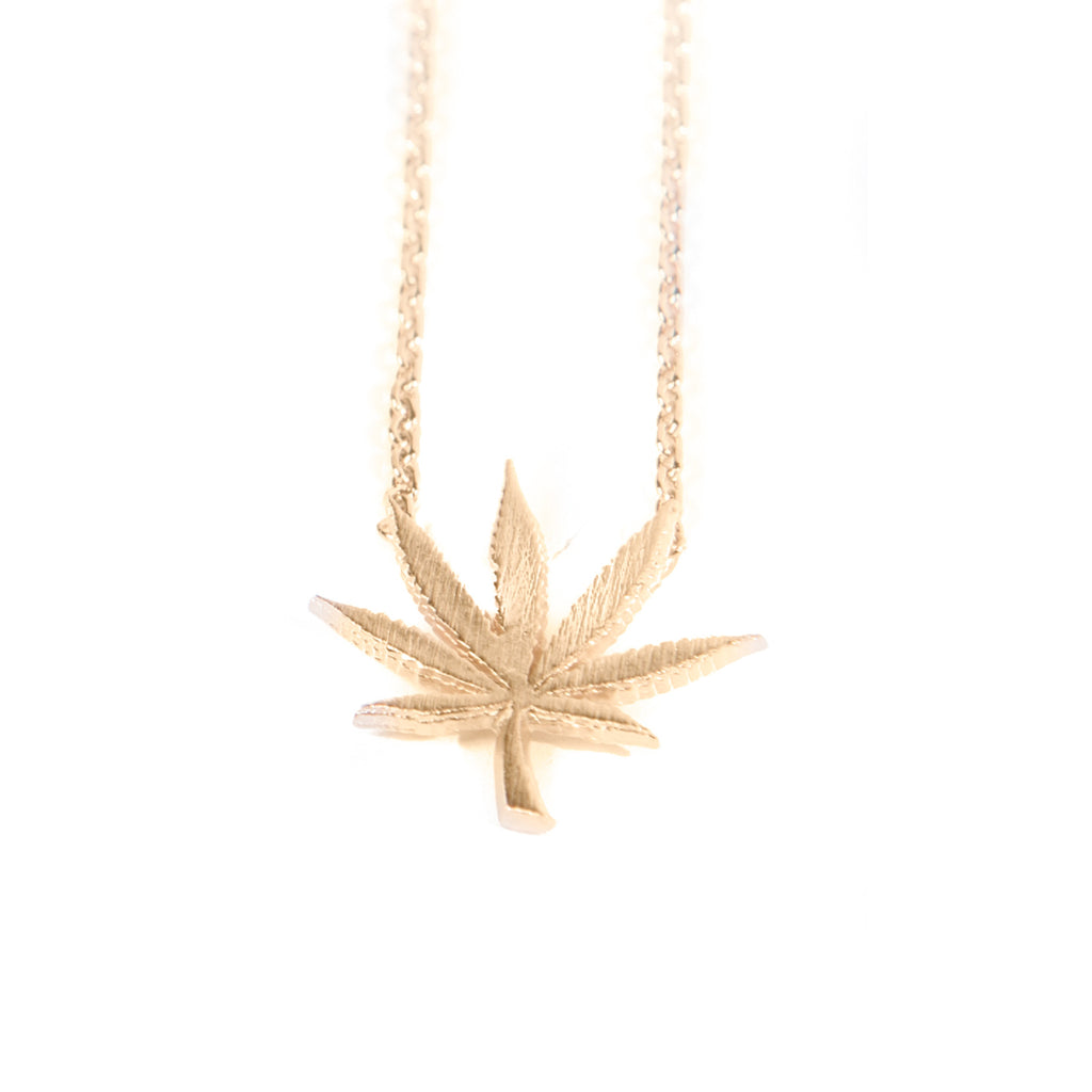 Cannabis Couture Pot Leaf Necklace- Gold! - Miss Mary Jane Co.