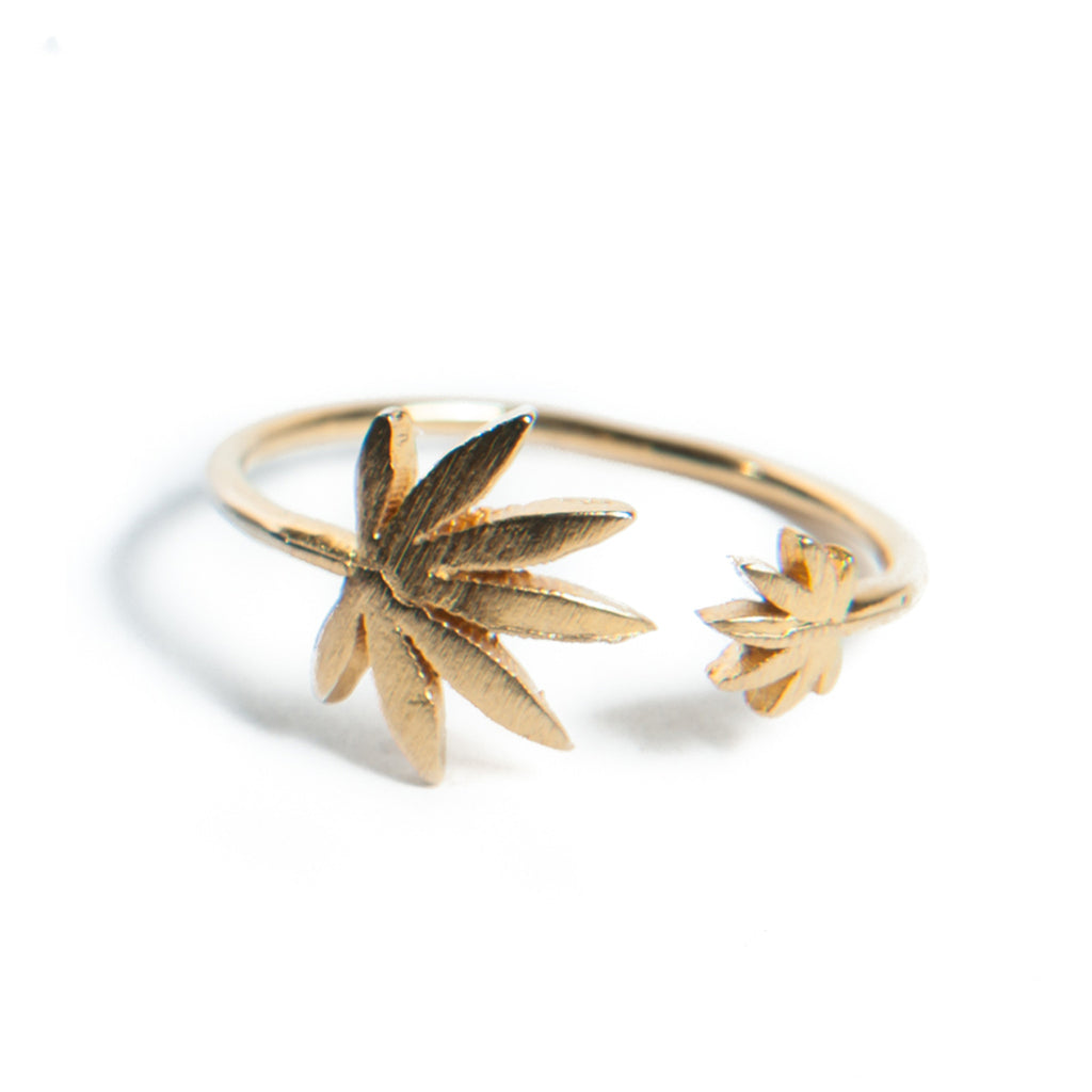 Cannabis Couture Pot Leaf Wrap Around Ring- Gold! - Miss Mary Jane Co.