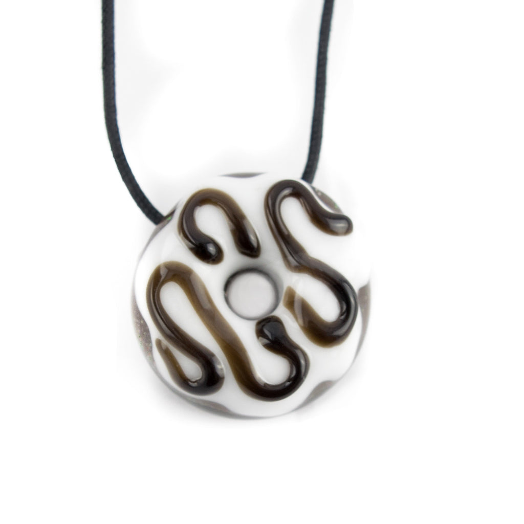 KGB Donut Pendant! - Vanilla Frosted with Chocolate Drizzle! - Miss Mary Jane Co.