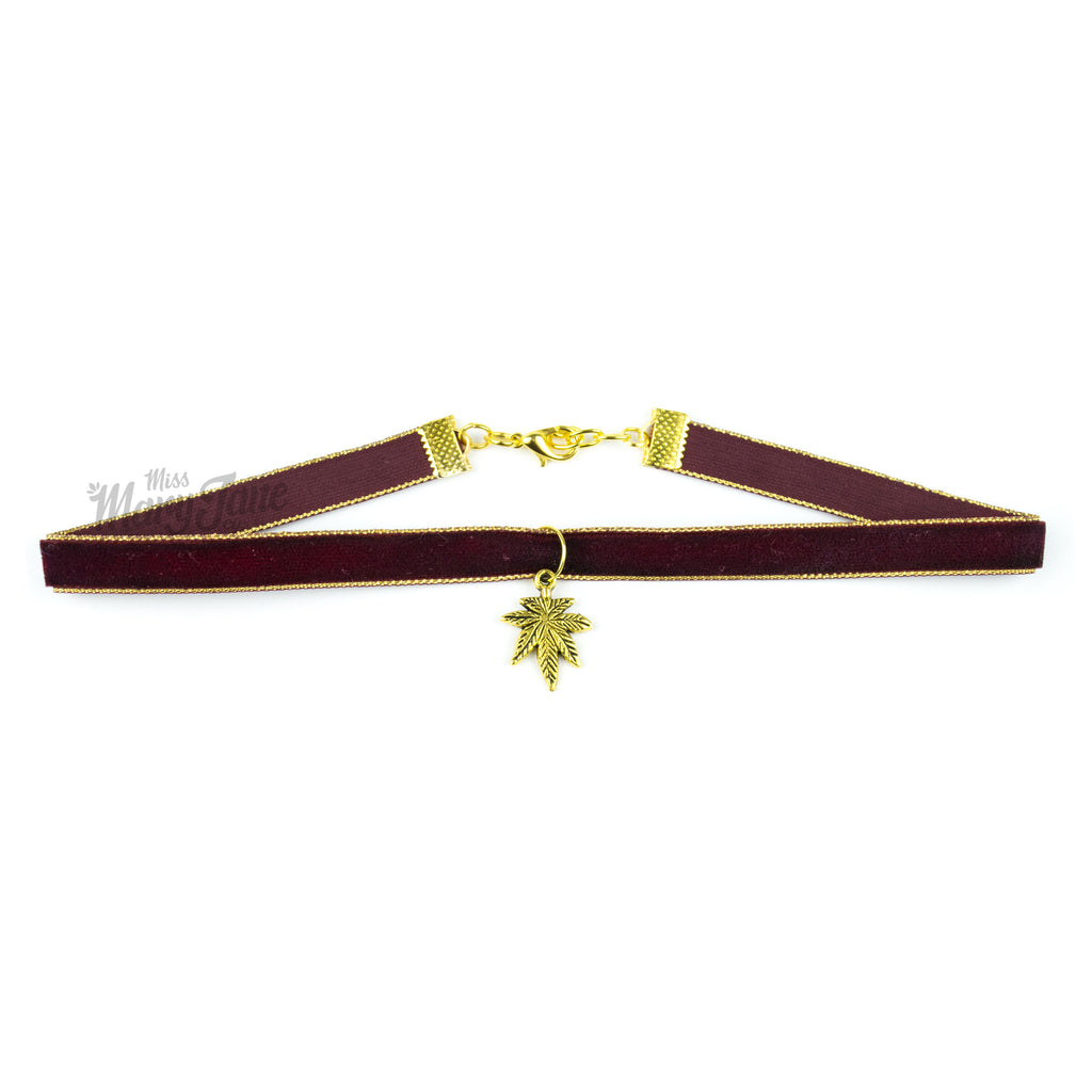 Cannabis Couture Velvet Choker- Maroon & Gold! - Miss Mary Jane Co.