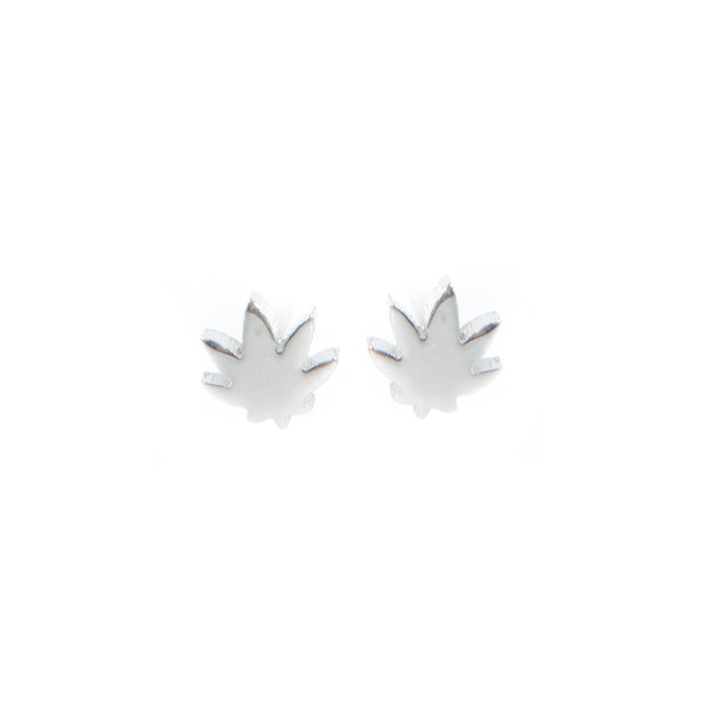 Mini Indica Pot Leaf Earrings- Silver! - Miss Mary Jane Co.