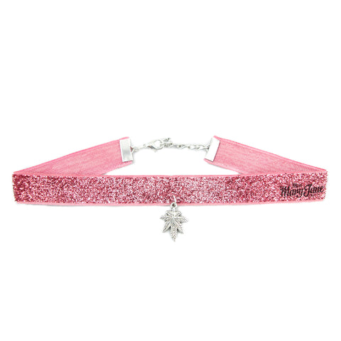 Cannabis Couture Sparkly Choker- Pink & Silver! - Miss Mary Jane Co.