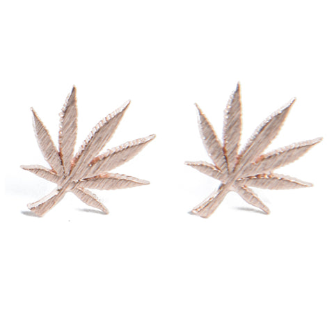 Cannabis Couture Pot Leaf Earrings- Rose Gold! - Miss Mary Jane Co.