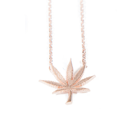 Cannabis Couture Pot Leaf Necklace- Rose Gold! - Miss Mary Jane Co.