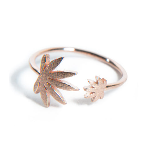 Cannabis Couture Pot Leaf Wrap Around Ring- Rose Gold! - Miss Mary Jane Co.