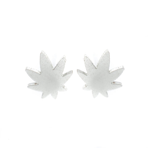 Indica Pot Leaf Earrings- Silver! - Miss Mary Jane Co.