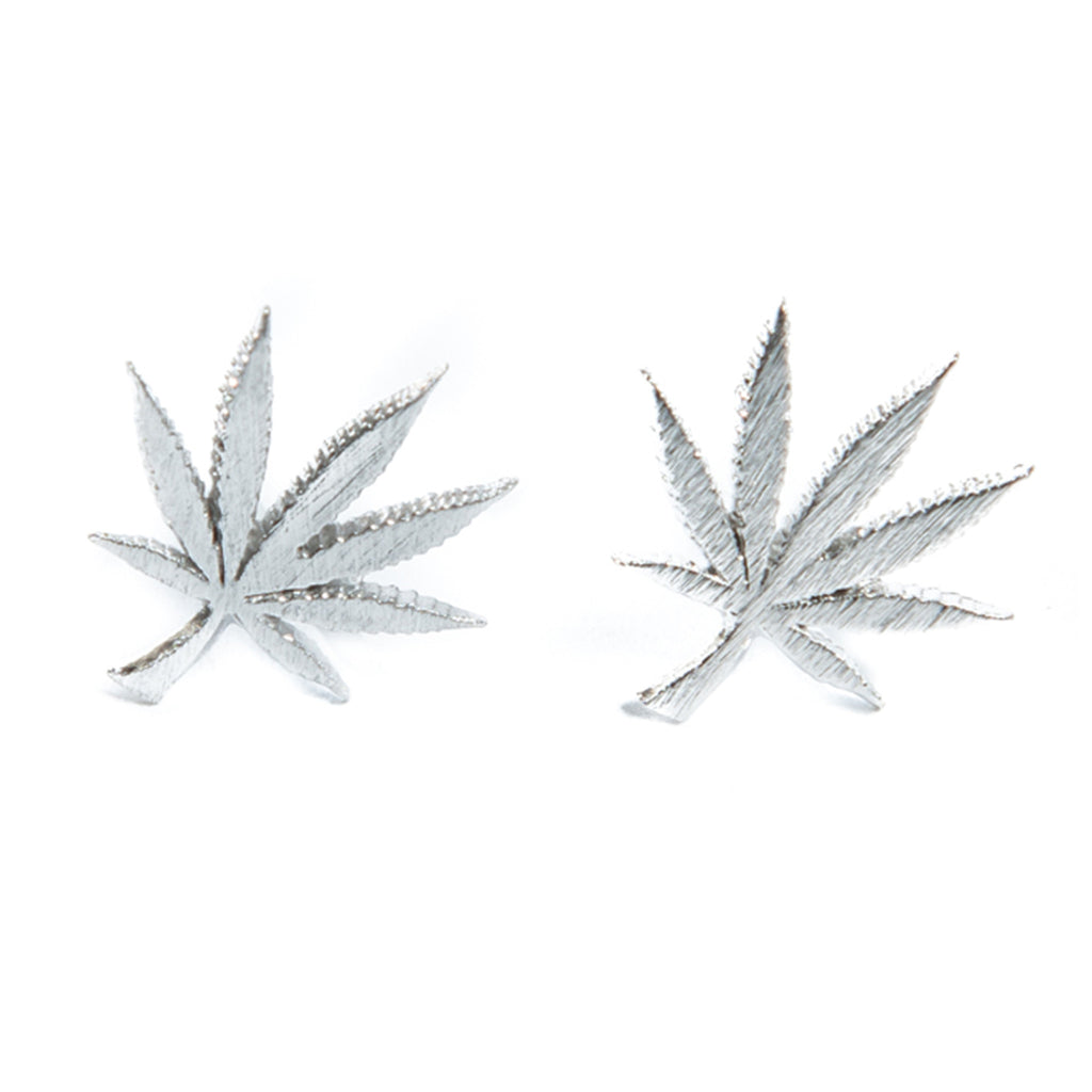 Cannabis Couture Pot Leaf Earrings- Silver! - Miss Mary Jane Co.