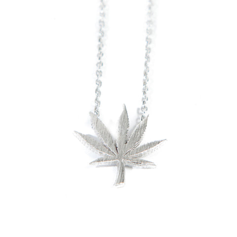 Cannabis Couture Pot Leaf Necklace- Silver! - Miss Mary Jane Co.