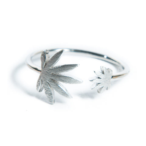 Cannabis Couture Pot Leaf Wrap Around Ring- Silver! - Miss Mary Jane Co.