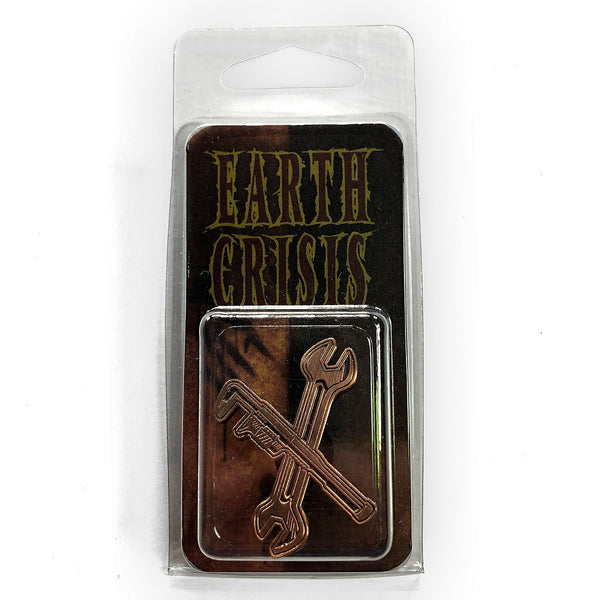 Earth Crisis Antiqued Copper Wrenches Pin