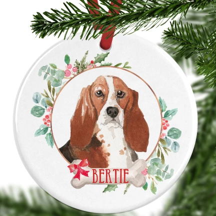 Basset Hound Personalised Christmas Ornament