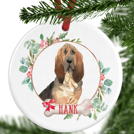 Bloodhound Personalised Christmas Ornament