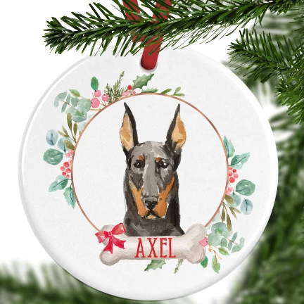 Doberman Personalised Christmas Ornament